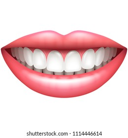 Healthy teeth beautiful woman smile isolated on white vector illustration