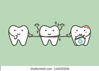 healthy teeth cleaning his friend by dental floss - tooth cartoon vector flat style cute character for design