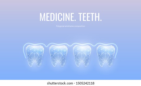 Healthy teeth low poly banner wireframe template. Mouth cavity examination and treatment poster mockup. Sensitive teeth protection polygonal glowing illustration. Enamel whitening typography