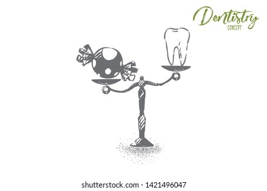 Healthy teeth and sweets, white tooth and candy on vintage scales. Stomatology, dentistry symbol, refusing from confectionery, health priority concept sketch. Hand drawn vector illustration