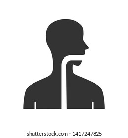 Healthy throat glyph icon. Oral cavity, pharynx and esophagus in good health. Upper section of alimentary canal. Gastrointestinal tract. Silhouette symbol. Negative space. Vector isolated illustration