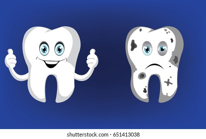 healthy tooth, bad tooth vector illustration