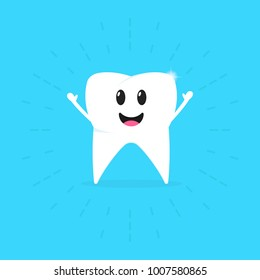 Healthy tooth badge on a blue background. Oral hygiene of teeth. Children take care of their teeth. Shining effect. Flat design. Vector illustration.
