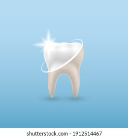 Сoncept Healthy Tooth, of dental examination, dental health and hygiene on blue background. 3d illustration, vector
