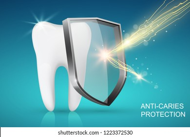 Healthy tooth and glass shield with lightning, anti-caries protection concept