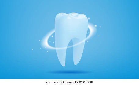 Healthy tooth with glowing effect on blue background, teeth whitening concept, illustration vector.