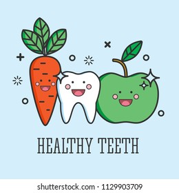Healthy tooth with green apple and carrot. Dental care logo. Vector outline illustration. Funny tooth.