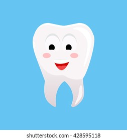Healthy tooth with happy face. Vector illustration. Smiling tooth. White tooth on blue background