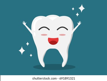 Healthy tooth icon. Oral dental hygiene. Children teeth care. Shining effect stars with background. Flat design. Vector illustration