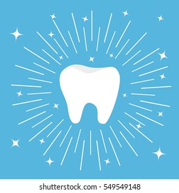 Healthy tooth icon. Round line circle. Oral dental hygiene. Children teeth care. Shining effect stars. Blue background. Flat design. Vector
