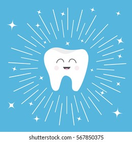 Healthy tooth icon with smiling face. Cute cartoon character. Round line circle. Oral dental hygiene. Children teeth care. Shining effect stars. Blue background. Flat design. Vector illustration