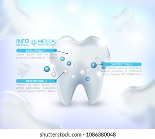 Healthy Tooth ,medical infographic ,Under Protection, Teeth Whitening,glowing effect,3D, realistic, Dental design element for advertising, brochures, banners and educational literature,vector