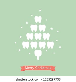 healthy tooth in the shape of Christmas tree for Merry Christmas and Happy New Year, dental care concept - teeth cartoon vector flat style cute character for design