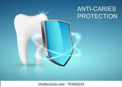 Healthy tooth and shield, anti-caries protection concept