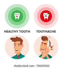 Healthy Tooth And Toothache Vector. Man With Toothache And Bandage. Concept For Dentist, Diseases, Tooth Day. Isolated On White Cartoon Character Illustration
