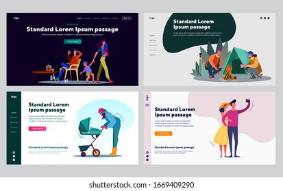 Healthy and toxic relationship set. Couple camping, walking with stroller, drunk dad. Flat vector illustrations. Family problem, love, happiness concept for banner, website design or landing web page