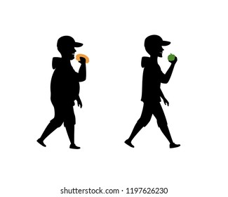 Healthy And Unhealthy Eating Habits Before After Male Silhouette Vector Illustration
