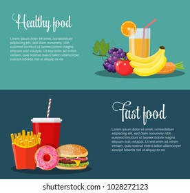 Healthy and unhealthy food banners. Poster with items of diet organic products and unhealthy junk food. Weight loss. Vector illustration in flat style