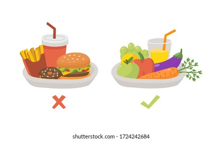 Healthy and unhealthy food. Food choice. Plates with organic products and fast food. Diet decision concept and nutrition. Fresh fruit and vegetables or greasy cholesterol. Vector illustration concept.