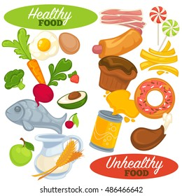 Healthy And Unhealthy Food Set Icons Of Fast Junk Fresh Natural Nutrition