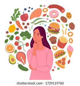 Healthy and unhealthy food. Vector illustration of young woman surrounded by fruits and vegetables by one side and fast-food and sweets - by another side. Isolated on white.