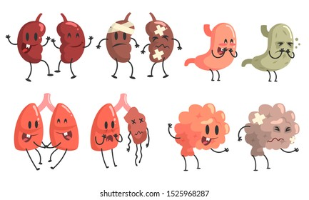 Healthy and Unhealthy Human Internal Organs Cartoon Character Set, Kidneys, Stomach, Brain, Lung, Thyroid Vector Illustration