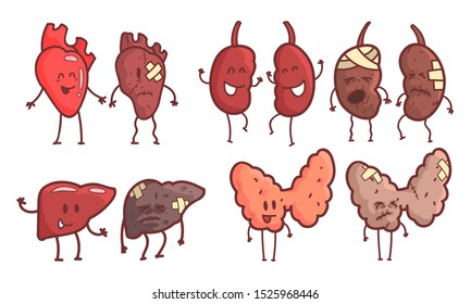 Healthy and Unhealthy Human Internal Organs Cartoon Character Set, Kidneys, Heart, Liver, Thyroid Vector Illustration