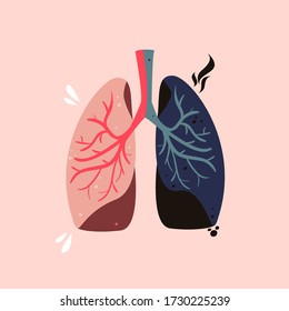 Healthy and unhealthy lungs vector illustration. Smoker's disease drawing. Contaminated respiratory system hand drawn concept.