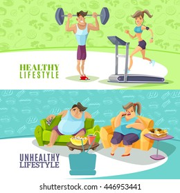 Healthy and unhealthy people horizontal banners set isolated cartoon vector illustration