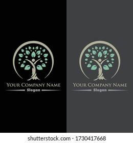 Healthy vector logo design. Medical. tree. leaf