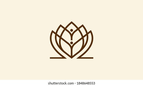 Healthy - vector logo template illustration. Man figure on leaves. Ecological and biological product concept sign.