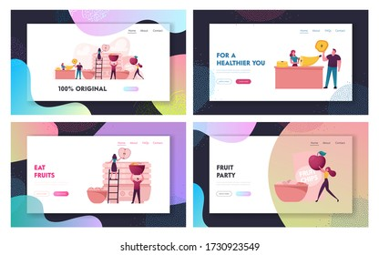 Healthy Vega and Vegetarian Nutrition Landing Page Template Set. Tiny Characters Cooking and Eating Homemade Dehydrated Fruit Chips Made of Banana, Apple, Orange. Cartoon Vector People Illustration