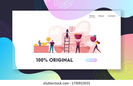 Healthy Vega and Vegetarian Nutrition Landing Page Template. Tiny Characters Cooking and Eating Homemade Dehydrated Fruit Chips Made of Banana, Apple, Orange. Cartoon Vector People Illustration