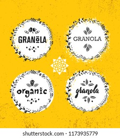 Healthy Vegan Snack Granola Cereal Vector Nutrition Food Design Element. Organic Handmade Concept. Rough Eco Breakfast Illustration On Grunge Wall Background