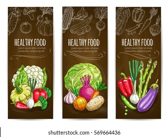 Healthy vegetables banners. Chalk sketch vegetables cauliflower, squash, bell and chili pepper, tomato and leek, broccoli, onion and potato, garlic, beet and carrot, asparagus, eggplant and green pea