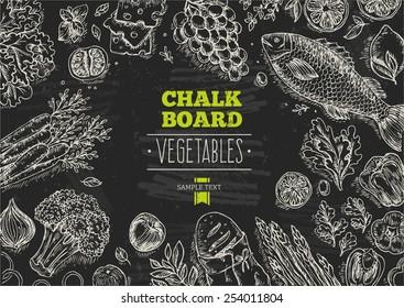 Healthy Vegetables Chalkboard Background. Lineart graphic. Vector illustration