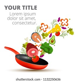 Healthy Vegetables Cooking In Kitchen Pan Vector Image