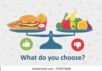 Healthy versus unhealthy food on the balance with fast food hamburger and chips against fresh vegetables and fruit - What Would You Choose - colored vector illustration