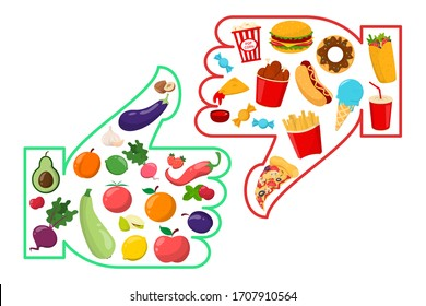 Healthy vs junk food vector isolated. Unhealthy lifestyle with french fries, hamburger and sugar food. Healthy nutrition includes vegetables and fruits.