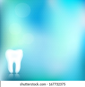 Healthy white tooth background design, beautiful light blue color, clear and accurate design