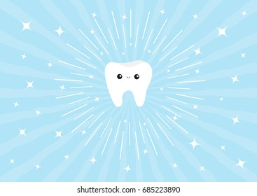 Healthy white tooth icon with happy smiling face and eyes. Cute cartoon character. Round line circle Children teeth care Oral dental hygiene. Shining effect stars. Blue background. Flat design. Vector
