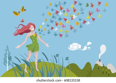 Healthy woman breathing in a natural and Spring landscape. Colored butterflies come out of his chest. She is very happy and full of vitality.