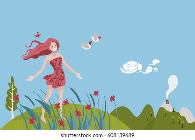 Healthy woman breathing in a natural and Spring landscape. She is very happy and full of vitality. She is looking to a couple of Doves.
