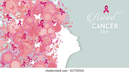Healthy woman face profile silhouette with pink hair ribbon and nature symbols for breast cancer awareness day. EPS10 vector file.
