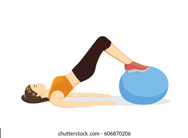 Healthy woman lying on the floor and workout with gym ball. Illustration about get rid of lower belly fat with equipment exercise.