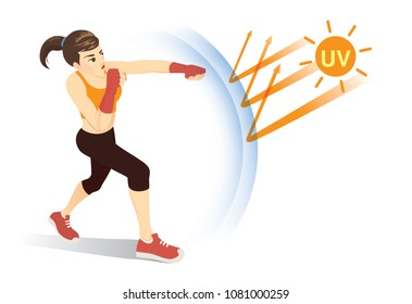 Healthy woman reflect UV ray from sunlight with punching. Concept illustration about skin protection form danger of Ultraviolet.