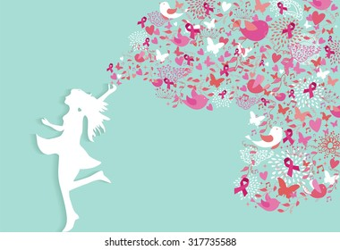 Healthy woman silhouette pink ribbon spring nature symbols in support of breast cancer awareness. EPS10 vector file.