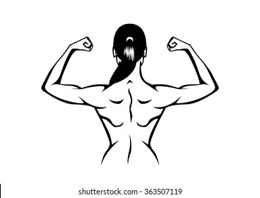 Healthy woman taking off his shirt to flex his back muscles on isolated background