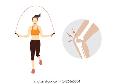 Healthy Woman while jump Skipping Rope and knee pain. Illustration about Injury from Exercise.