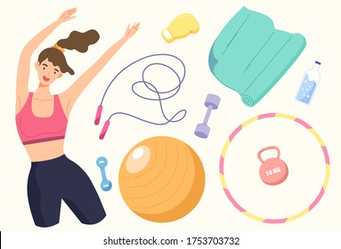 Healthy woman and workout equipments. Concept of exercise, strong body, cardio workout, weight, stretch muscle, sport, fitness, gym, yoga, dumbbell, hula-hoop, jump rope. Flat vector illustration.